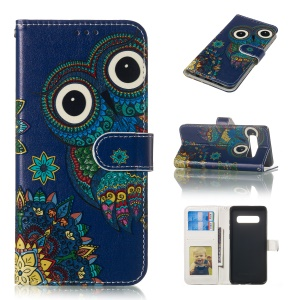 Embossment Patterned Leather Wallet Case for Samsung Galaxy S10 Plus - Owl