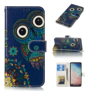 For Samsung Galaxy S10 Embossment Patterned Leather Wallet Phone Cover - Owl