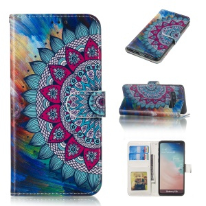 For Samsung Galaxy S10 Embossment Patterned Leather Wallet Phone Cover - Mandala Flower