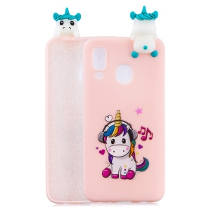 Pattern Printing TPU Gel Mobile Casing for Samsung Galaxy A40 with 3D Animal Doll - Unicorn Enjoying Music