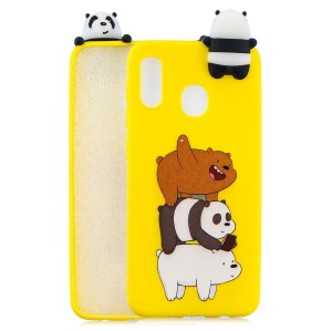 For Samsung Galaxy A30 / A20 Pattern Printing TPU Cell Phone Cover with 3D Animal Doll - Panda and Bear
