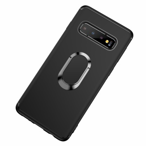 For Samsung Galaxy S10 Matte TPU Mobile Shell with Magnetic Finger Ring Kickstand - Black