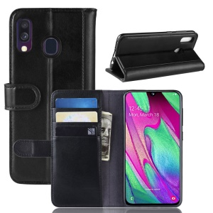 Genuine Split Leather Wallet Stand Cover for Samsung Galaxy A40 - Black