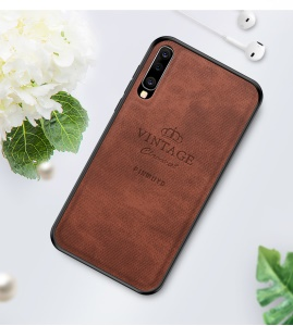 PINWUYO Honorable Series PU Leather Coated PC + TPU Hybrid Case for Samsung Galaxy A70 - Brown