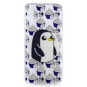 Pattern Printing Soft TPU Case for Samsung Galaxy A50 / A50s / A30s - Penguin and Cupcake