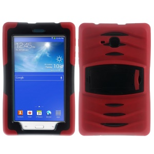 Heavy Duty Kickstand PC Silicone Protector Shell for Samsung Galaxy Tab 3 Lite SM-T116 - Red