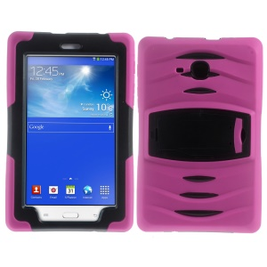Heavy Duty Kickstand PC Silicone Tablet Case for Samsung Galaxy Tab 3 Lite SM-T116 - Rose