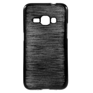 Glossy Outer Brushed Inner TPU Case for Samsung Galaxy J1 (2016) - Black