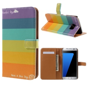 Leather Wallet Stand Case for Samsung Galaxy S7 edge G935 - Rainbow Stripes