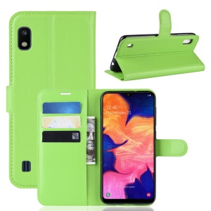 Litchi Skin PU Leather Wallet Mobile Phone Case for Samsung Galaxy A10 - Green