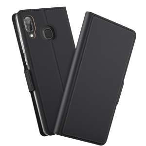 Magnetic Adsorption Leather Flip Stand Case with Card Holder for Samsung Galaxy A40 - Black