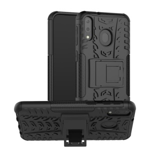 2-in-1 Tyre Pattern PC + TPU Hybrid Mobile Phone Case with Kickstand for Samsung Galaxy M20 - All Black