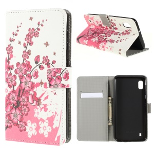 Pattern Printing PU Leather Cell Phone Casing for Samsung Galaxy A10 - Plum Blossom