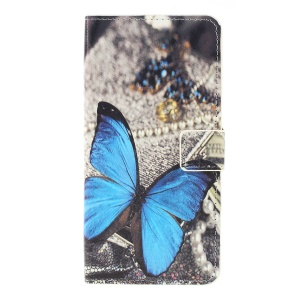 Pattern Printing PU Leather Cell Phone Casing for Samsung Galaxy A10 - Blue Butterfly