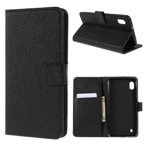 Litchi Texture PU Leather Stand Wallet Flip Cover for Samsung Galaxy A10 - Black