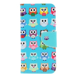 Cross Texture Pattern Printing PU Leather Magnetic Phone Cover for Samsung Galaxy A10 - Cute Owls