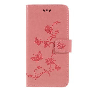 Imprint Butterfly Flower PU Leather Flip Stand Phone Case for Samsung Galaxy A10 - Pink