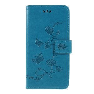 Imprint Butterfly Flower PU Leather Flip Stand Phone Case for Samsung Galaxy A10 - Blue