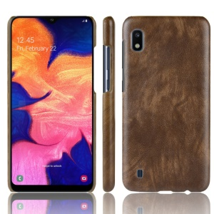Litchi Texture PU Leather Coated PC Case for Samsung Galaxy A10 - Brown