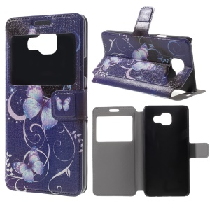 Window View Leather Case for Galaxy A3 SM-A310F (2016) - Purple Butterflies Vines