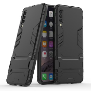 Cool Guard Hybrid PC TPU Cell Phone Case with Kickstand for Samsung Galaxy A50 - Black