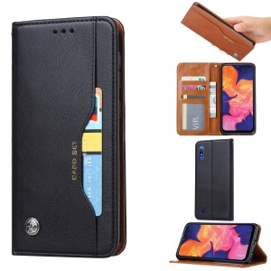 PU Leather Auto-absorbed Stand Wallet Protective Case for Samsung Galaxy A10 - Black