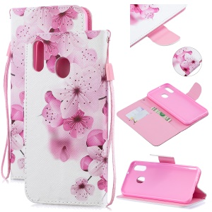 Pattern Printing Leather Wallet Case for Samsung Galaxy M20 - Pretty Flower
