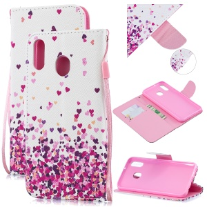 Pattern Printing Leather Wallet Case for Samsung Galaxy M20 - Hearts