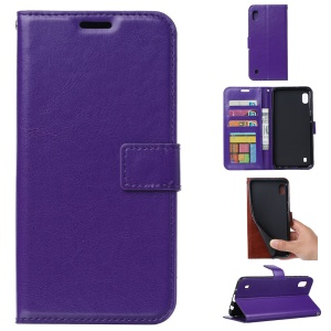 Crazy Horse Leather Wallet Case for Samsung Galaxy A10 - Purple