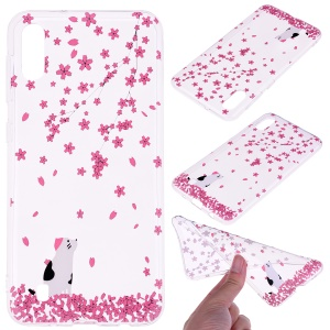Pattern Printing TPU Protection Case Shell for Samsung Galaxy A10 - Flower and Cat