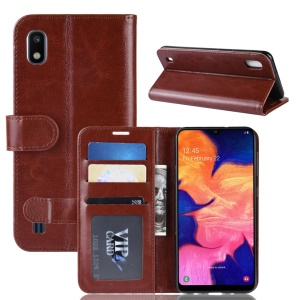 Crazy Horse Wallet Leather Mobile Cover Für Samsung Galaxie A10 - Braun