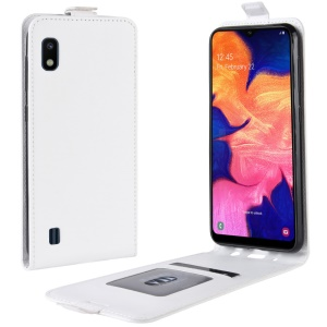 Crazy Horse Vertical Flip Leather Protective Case for Samsung Galaxy A10 - White
