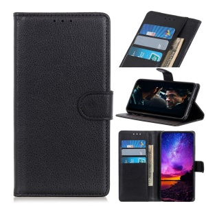 Litchi Skin Leather Wallet Mobile Case for Samsung Galaxy M30 / A40s - Black