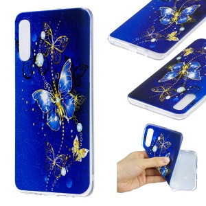 Pattern Printing Soft TPU Mobile Casing for Samsung Galaxy A50 / A50s / A30s - Blue Butterfly