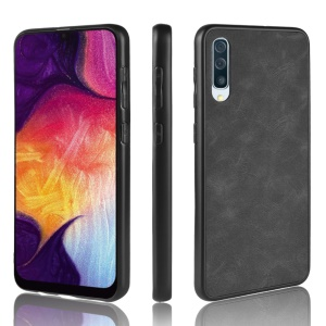 PU Leather Coated TPU Mobile Phone Case for Samsung Samsung Galaxy A50 / A50s / A30s - Black