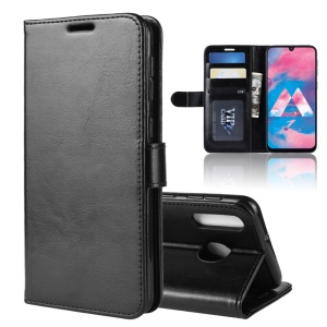 Crazy Horse PU Leather Stand Wallet Flip Phone Case for Samsung Galaxy M30/A40s - Black