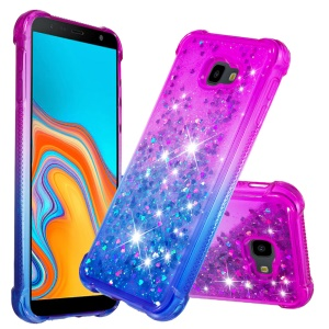 Rhinestone Decor Gradient Glitter Powder Quicksand TPU Shell for Samsung Galaxy J4 Plus - Purple / Blue