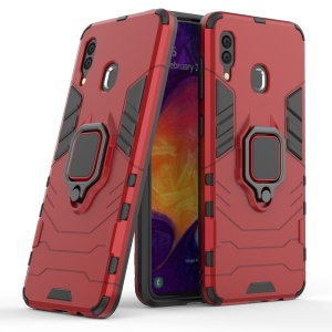 Cool Guard Ring Holder Kickstand PC TPU Hybrid Case for Samsung Galaxy A30 / A20 - Red
