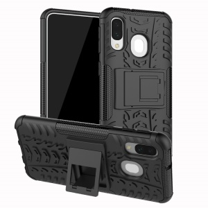 For Samsung Galaxy A40 Cool Tyre PC + TPU Hybrid Case with Kickstand - Black