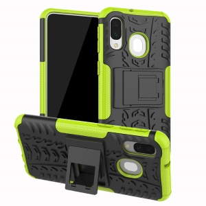 For Samsung Galaxy A40 Cool Tyre PC + TPU Hybrid Case with Kickstand - Green