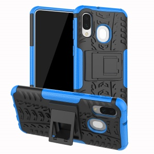 For Samsung Galaxy A40 Cool Tyre PC + TPU Hybrid Case with Kickstand - Blue