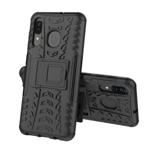 For Samsung Galaxy A50/A30/A20 Cool Tyre PC + TPU Hybrid Case with Kickstand - Black