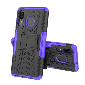 For Samsung Galaxy A50/A30/A20 Cool Tyre PC + TPU Hybrid Case with Kickstand - Purple