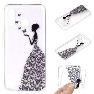 Pattern Printing TPU Soft Mobile Phone Cover for Samsung Galaxy A40 - Butterfly Girl