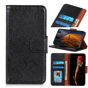 Nappa Texture Split Leather Wallet Cell Phone Cover for Samsung Galaxy A20e - Black