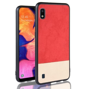 Bi-color Splicing PU Leather Coated PC TPU Hybrid Case Cover for 	Samsung Galaxy A10 - Red