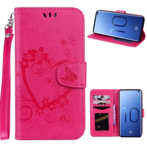 For Samsung Galaxy S10 Plus Imprint Heart Flower Wallet Stand Leather Protective Case - Rose