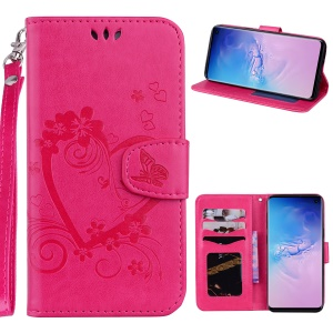 Imprint Heart Flower Leather Wallet Case with Strap for Samsung Galaxy S10 - Rose