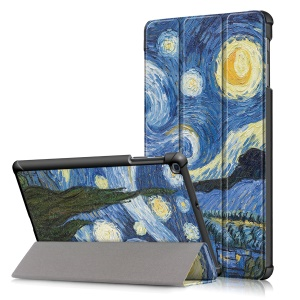 Pattern Printing Tri-fold Stand Leather Tablet Cover for Samsung Galaxy Tab A 10.1 (2019) T515/T510 - Starry Sky