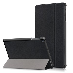 PU Leather Tri-fold Stand Tablet Case Cover for for Samsung Galaxy TAB A 10.1 2019 SM-T510/SM-T515 - Black
